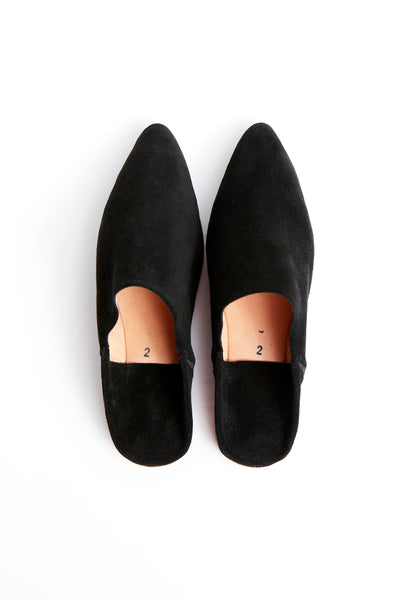 Men's Black Suede Babouche Slide