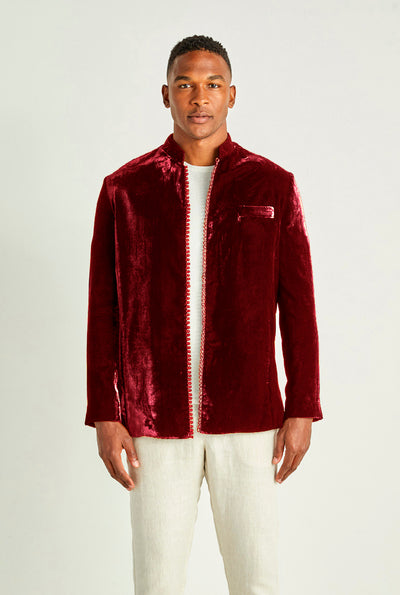 Burgundy Velvet Smoking Jacket