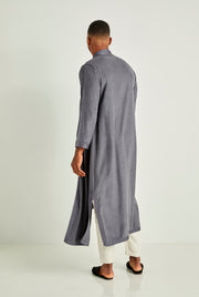 Slate Blue Long Moroccan Tunic Coat