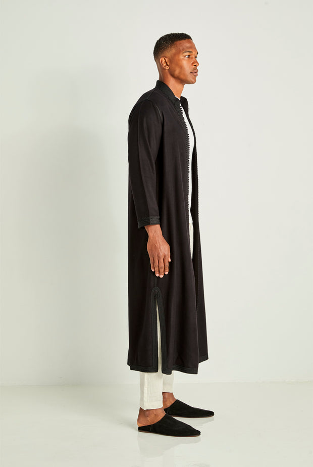 Black Long Moroccan Cashmere Tunic Coat