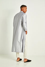 Silver Long Silk Tunic Coat