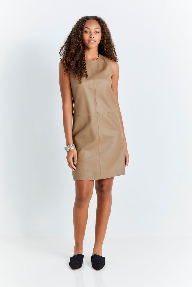 Taupe Leather Tunic Dress