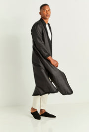 Black Long Silk Tunic Coat