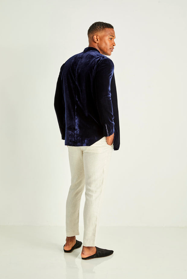 Navy Velvet Smoking Jacket