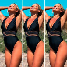 Load image into Gallery viewer, One-piece V neck Backless Monokini Push Up Bikini