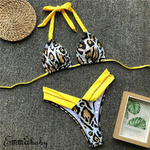 Load image into Gallery viewer, Padded Bra Leopard Bikini Set