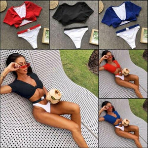 Triangle Bikini Set Short Sleeve Padded