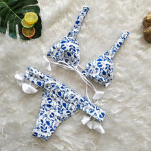 Load image into Gallery viewer, Women Triangle Push-up Padded Bra Tassel Bikini Suit Swimsuit