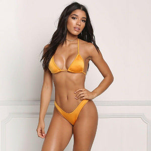 Solid Bikini Set Push Up Padded Bandage Swimwear