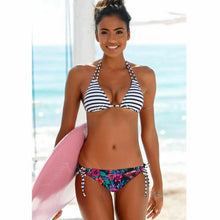 Load image into Gallery viewer, Strap Floral Bikini Set Two Piece Swimwear Up Bottom