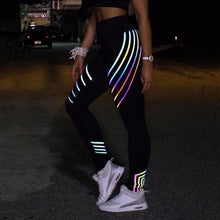 Load image into Gallery viewer, Rainbow Line Design Reflective Leggings