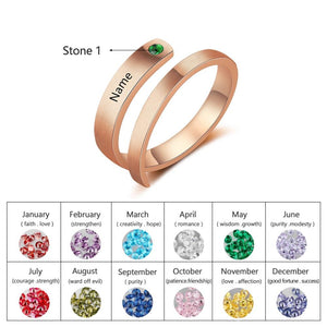 Personalized Rings Custom Name Birthstone Rings for Women Engraved Jewelry Anniversary Gifts