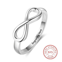 Load image into Gallery viewer, 925 Sterling Silver Infinity Love Knot Rings for Women Customized Personalized Engrave Name Promise Ring Gift