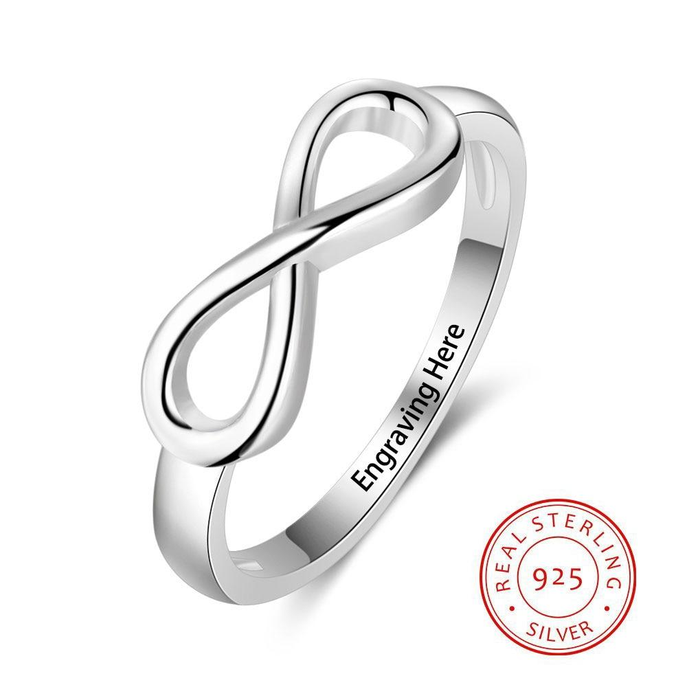 925 Sterling Silver Infinity Love Knot Rings for Women Customized Personalized Engrave Name Promise Ring Gift