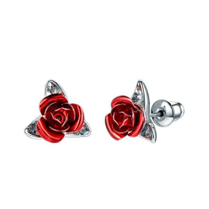 Cute Red Rose Metal Flowers Stud Earring For Women Lady Romantic Gift Brincos Wedding Earrings Party Jewelry bijoux