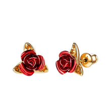 Load image into Gallery viewer, Cute Red Rose Metal Flowers Stud Earring For Women Lady Romantic Gift Brincos Wedding Earrings Party Jewelry bijoux