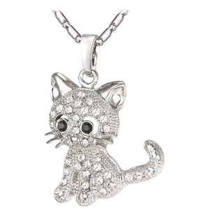 Cute Cat Pendants & Chain Gold/Silver/Rose Color Rhinestone Crystal Hot Animal Necklaces Women Jewelry for Girls Gifts