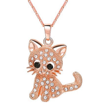 Load image into Gallery viewer, Cute Cat Pendants & Chain Gold/Silver/Rose Color Rhinestone Crystal Hot Animal Necklaces Women Jewelry for Girls Gifts