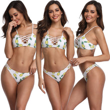Load image into Gallery viewer, Pineapple Print Bandage Cross Bathing Padded Suit