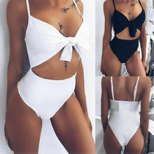 Load image into Gallery viewer, One Piece Hollow Out Bandage Bikini Push Up Bathing Suit