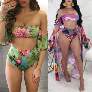 Strapless Bikini Set Bandage Push-Up Padded High Waist Short Sleeve