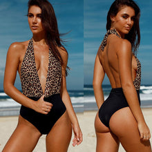 Load image into Gallery viewer, Floral Leopard Bandage One Piece Deep V neck Backless Bikini