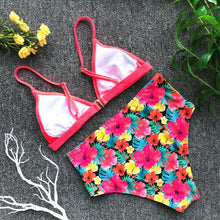Load image into Gallery viewer, Floral Print High Waist Bikini Set push up Bra