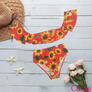 Sunflower Push-up Padded Off Shoulder Short Sleeve High Waist Bikini Set