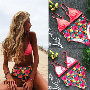Floral Print High Waist Bikini Set push up Bra