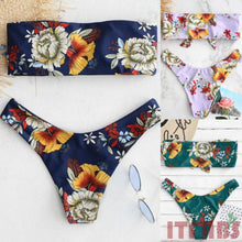 Load image into Gallery viewer, Flower Bikini Set Strapless Swimwear Bathing suit