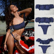 Load image into Gallery viewer, Off Shoulder Ruffle Polka Dot Push-Up Swimsuit