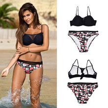 Load image into Gallery viewer, Push-up Mesh V neck Floral Bikini Set