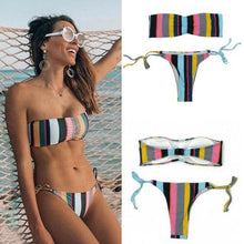 Load image into Gallery viewer, Striped Bikini Sets Strapless Push Up Bra
