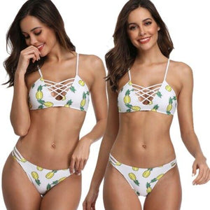 Pineapple Print Bandage Cross Bathing Padded Suit