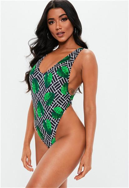 Leopard One Piece V neck Bikini Halter Monokini Swimming Suit