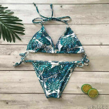 Load image into Gallery viewer, Push-up Bandage Leaves Floral Print Bikini Set Triangle Swimsuit