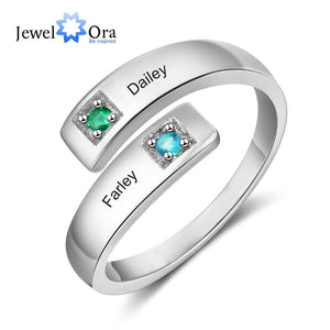 Personalized Women Rings with Birthstone Custom 2 Names Adjustable Engraved Promise Rings for Couples Jewelry