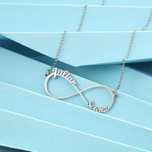 Load image into Gallery viewer, Personalized Infinity Necklace with 2 Names Custom Letter Nameplate Necklaces for Women Birthday Gift