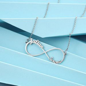 Personalized Infinity Necklace with 2 Names Custom Letter Nameplate Necklaces for Women Birthday Gift