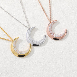 Crescent Moon Necklaces For Women Accessories Stainless Steel Long Chain Double Horn Necklaces Pendants Rose Gold Gifts
