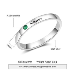 Sterling Silver Personalized Name Ring with Birthstone Custom Name Engraved Silver 925 Rings for Women Fine Jewelry