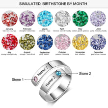 Load image into Gallery viewer, Personalized Rings Custom Name Birthstone Rings for Women Engraved Jewelry Anniversary Gifts