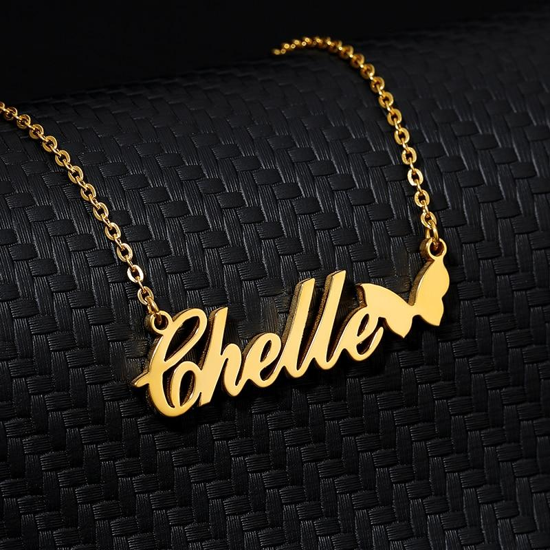 Personalized Name Necklace With Butterfly Gold Heart Choker Stainlesss Steel Custom Necklaces For Women