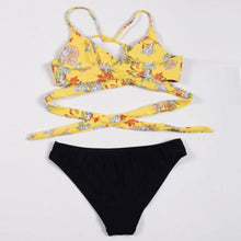 Load image into Gallery viewer, Triangle Push-up Padded Bandage Cross Floral Bikini Set