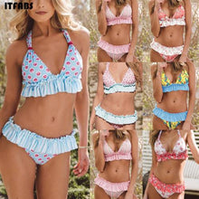 Load image into Gallery viewer, Padded Floral Bikini Set Bathing suit Flower knot Swimsuit