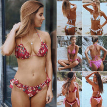 Load image into Gallery viewer, Floral Bikini Set Ruffle Patchwork Swimsuit Triangle Swimwear