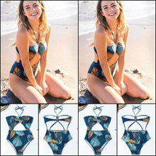 Load image into Gallery viewer, Hollow Out Leaves Print Bikini Set Push-up backless Swimsuit