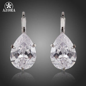 Brand Design Pear Cut Clear Cubic Zirconia Water Drop Earrings