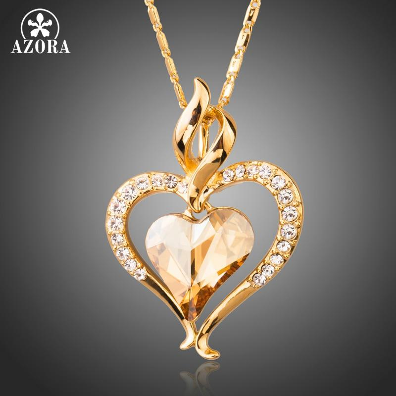 Long Link Chain Heart Austrian Crystal Gold Color Heart Pendant Necklace for Valentine's Day Gift of Love