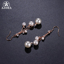 Load image into Gallery viewer, Women's Crystal Simulated Pearl Four Chain Bridal Long Dangle Hook Earrings Ivory Color Fashion Jewelry Accessories